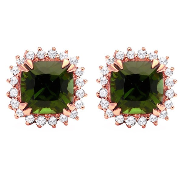 Beverly Hills Charm 10k Gold Green Tourmaline 1/6ct TDW Diamond Lady D Halo Earrings (H-I, I2-I3)