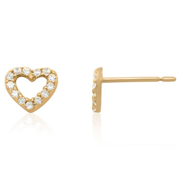 Gioelli 10k Yellow Gold Cubic Zirconia Hoop Heart Stud Earrings