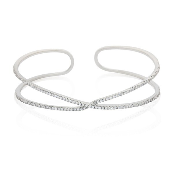 Sterling Silver Cubic Zirconia Cuff Line Bangle