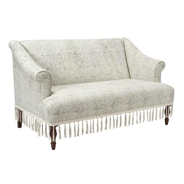 Jennifer Taylor Off-white Fringe Settee Sofa
