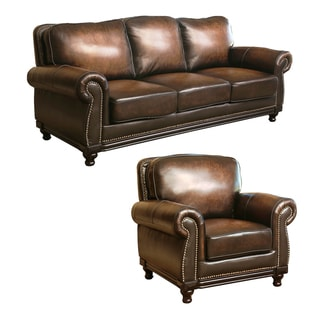 ABBYSON LIVING Palermo Hand-rubbed Brown Leather Sofa and Armchair Set