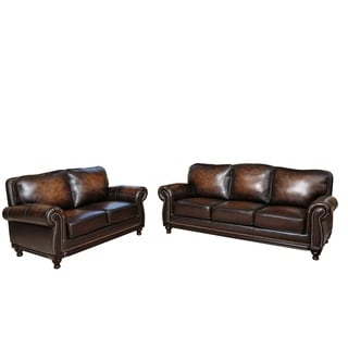 ABBYSON LIVING Palermo Hand-rubbed Brown Leather Sofa and Loveseat Set