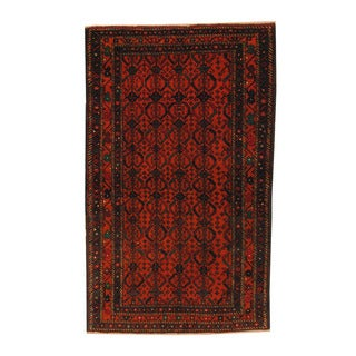 Herat Oriental Afghan Hand-knotted Semi-antique Tribal Balouchi Black/ Red Wool Rug (3'8 x 6'2)