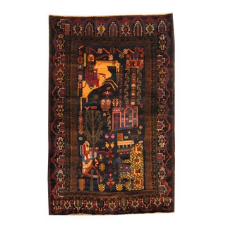 Herat Oriental Afghan Hand-knotted Semi-antique Tribal Balouchi Black/ Navy Wool Rug (4'3 x 6'9)