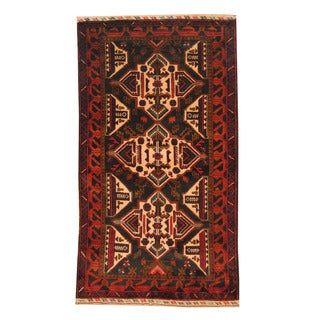 Herat Oriental Afghan Hand-knotted Semi-antique Tribal Balouchi Red/ Black Wool Rug (3'6 x 6'2)