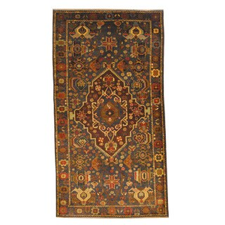 Herat Oriental Afghan Hand-knotted Semi-antique Tribal Balouchi Black/ Navy Wool Rug (3'9 x 7')