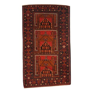 Herat Oriental Afghan Hand-knotted Semi-antique Tribal Balouchi Black/ Red Wool Rug (3'6 x 6'1)