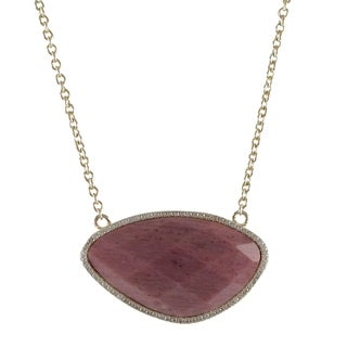 Goldtone Sterling Silver Semi-precious Gemstone and Cubic Zirconia Necklace