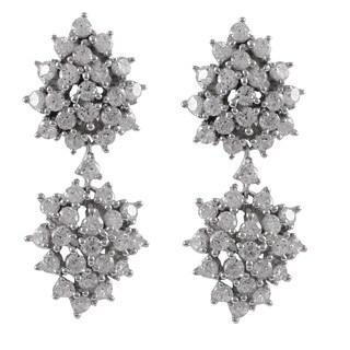 Luxiro Sterling Silver Cubic Zirconia Cluster Dangle Wedding Earrings