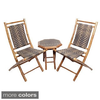 Heather Ann 3-piece Brown Frame Bamboo Bistro Set