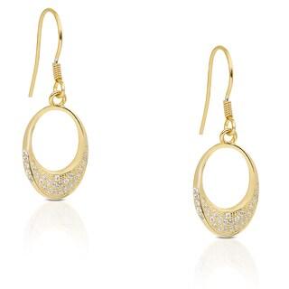 Dolce Giavonna Sterling Silver Cubic Zirconia Teardrop Dangle Earrings