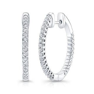Platinum over Silver 1 3/4ct TDW Diamond Hoop Earrings (H-I, I1-I2)