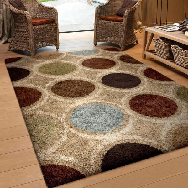 "Oasis Shag Collection Marble Multi Area Rug (5'3"" x 7'6"")"