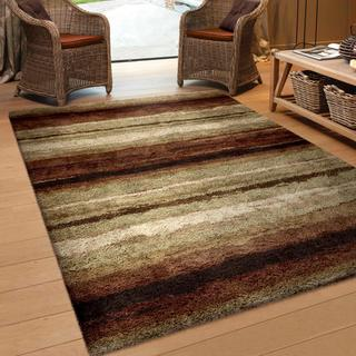 "Oasis Shag Collection Rural Road Red Area Rug (5'3"" x 7'6"")"