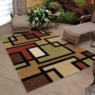 "Indoor/ Outdoor Napa Collection Blended Blocks Multi Area Rug (5'2"" x 7'6"")"