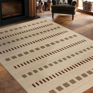 """Virtuous Collection Square Lines White Area Rug (5'3"""" x 7'6"""")"""