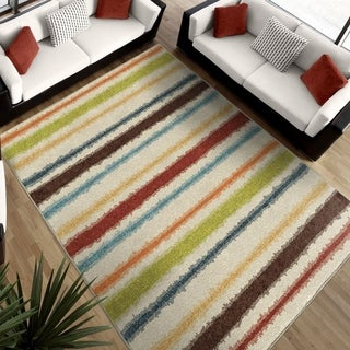 "Aria Collection Lines of Color Multi Area Rug (5'2"" x 7'6"")"