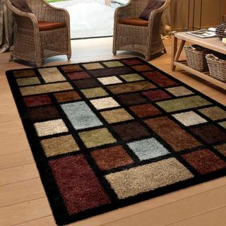 "Oasis Shag Collection Color Grid Multi Area Rug (7'10"" x 10'10"")"