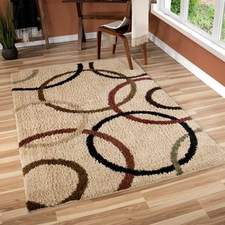"Oasis Shag Collection Circle of Life Bisque Area Rug (7'10"" x 10'10"")"