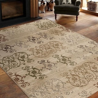 Virtuous Collection Neutral Damask White Area Rug (7'10 x 10'10)