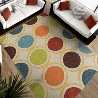 "Aria Collection Color Circles Ivory Area Rug (7'8"" x 10'10"")"