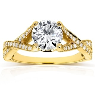 Annello 14k Yellow Gold Round-cut Moissanite 1/4ct TDW Diamond Engagement Ring (G-H, I1-I2)