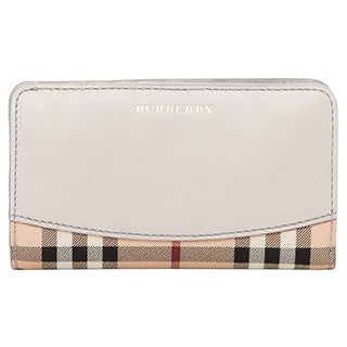Burberry Leather Trim Haymarket Check Continental Wallet