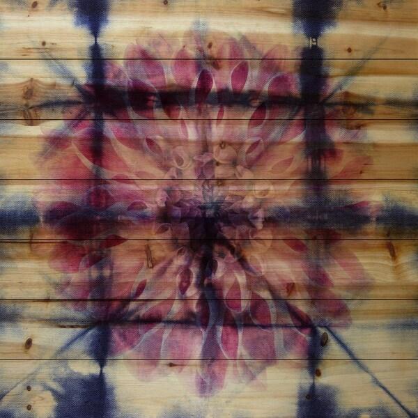 Parvez Taj 'Peony Background' Natural Pine Wood Art