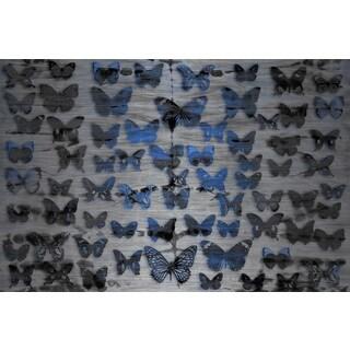 Parvez Taj 'Flutter Byes' Painting Print on Brushed Aluminum