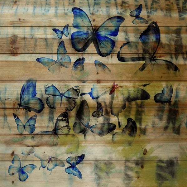 Parvez Taj 'Blued Winged Beauties' Natural Pine Wood Art