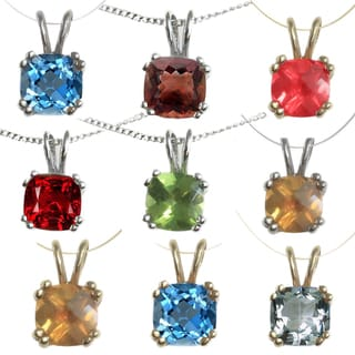 MV 14k Gold Cushion-cut Birthstone Necklace