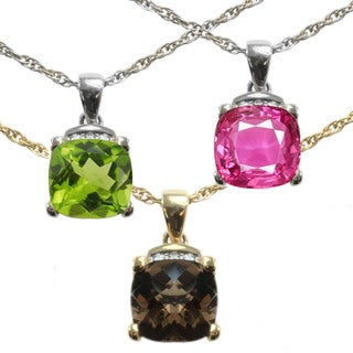 Michael Valitutti 14k Gold Cushion-cut Gemstone and Diamond Accent Necklace