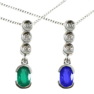 Michael Valitutti 10k White Gold Emerald or Blue Sapphire and Diamond Accent Necklace