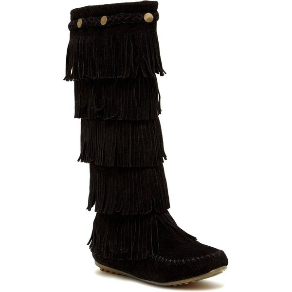 Women's Layered Fringe Knee-high Boots