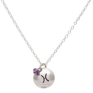 Pisces Sterling Silver Birthstone Necklace