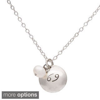 Cancer Sterling Silver Birthstone Necklace
