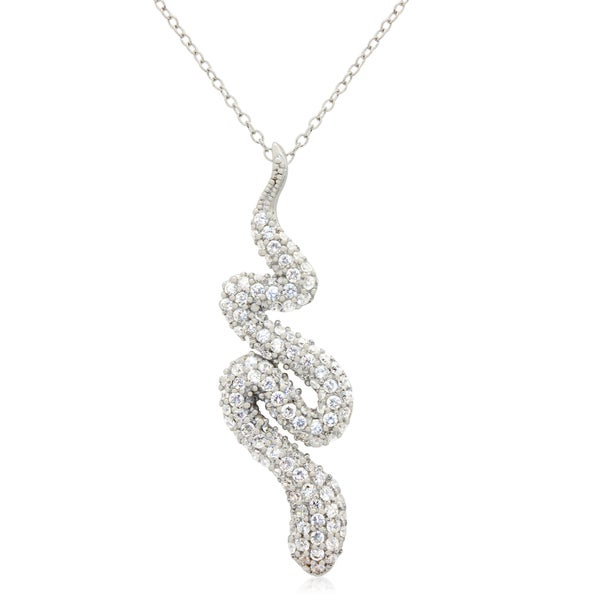 Sterling Silver Cubic Zirconia Pave Snake Pendant