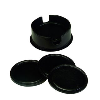 Royce Leather 6 Leather Round Coasters In Leather holder in genuine leather