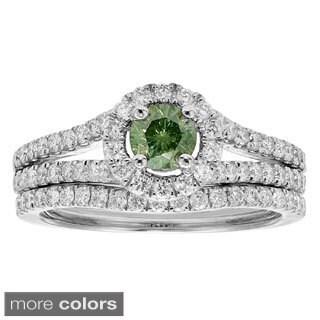 14k White Gold 1ct TDW Red or Green Diamond Bridal Ring Set