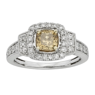 14k White Gold IGL Certified 1.5ct Champagne Cushion Cut Diamond Ring