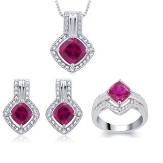 Silvertone Created Ruby Diamond Accent 3-piece Jewelry Set