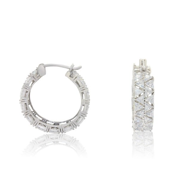 Sterling Silver Triangle-cut Cubic Zirconia Designer Hoop Earrings