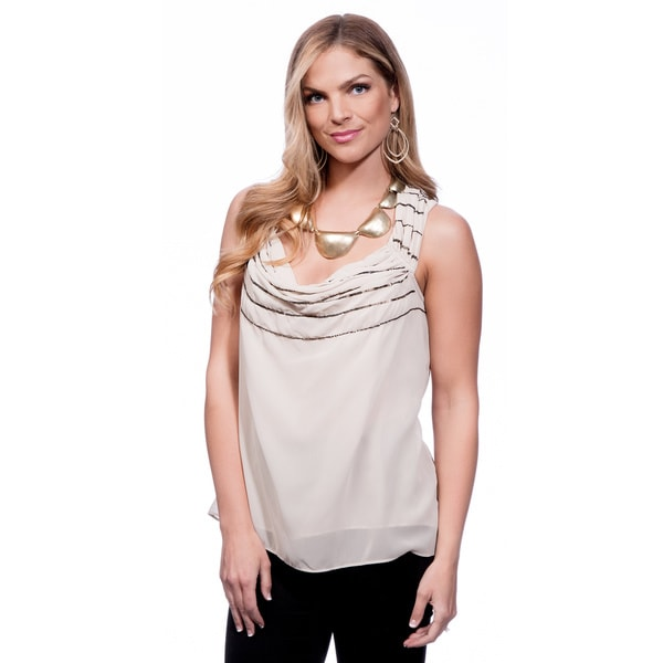 Andrew Charles Women's Oxford Tan Sequin Gathered Tank