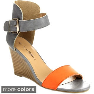 C Label BIMINI-1 Women's Two-Tone Ankle Strap Stacked Heel Wedges