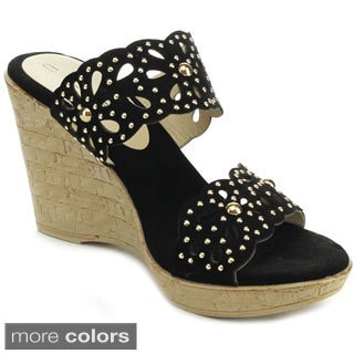 C Label ESSENCA-3 Women's Slip On Studded Platform Wedges