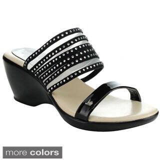 C Label ESTEE-1 Women's Slip On Studded Glitter Wedges