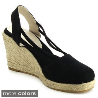 C Label ROLLIN-5 Women's Espadrille Elastic Sling Back Wedges