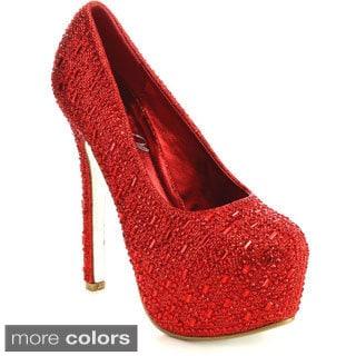 Bella Luna MIRANDA-06 Women's Sparkle Platform Pumps Rhinestone Stiletto Heels