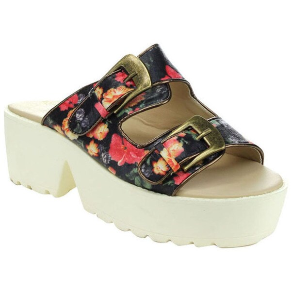 C Label DARLA-9A Women's Slip On Flatform Buckle Sandals