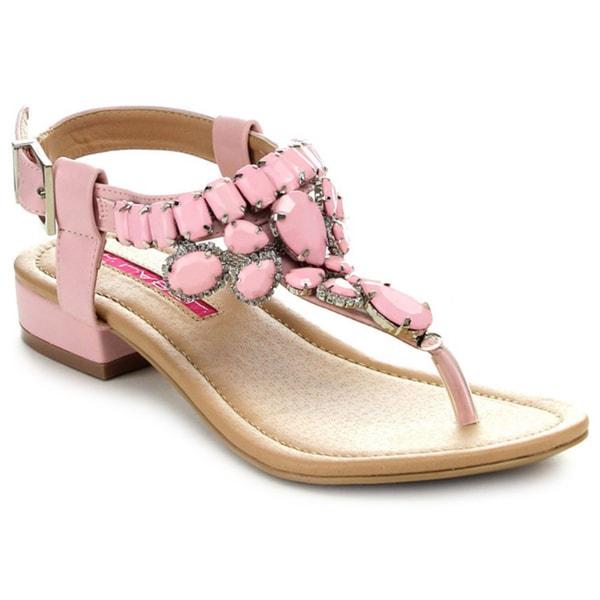C Label CABANA-11 Women's Rhinestone T-Strap Gladiator Flat Sandals